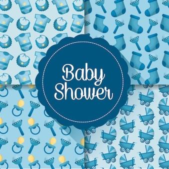 Cartão do chuveiro de bebê menino dia nascido rótulos roupas chupetas celebração