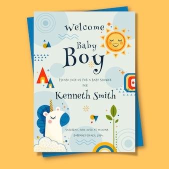 Cartão do chuveiro de bebê para menino ilustrado