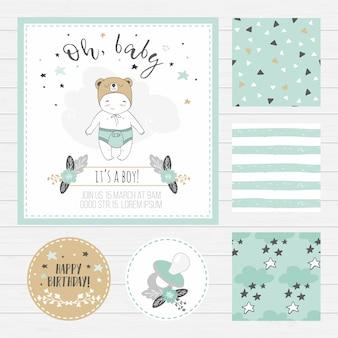 Cartão do chuveiro de bebê