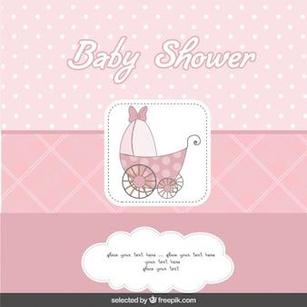 Cartão do chuveiro do rosa com carrinho de bebê