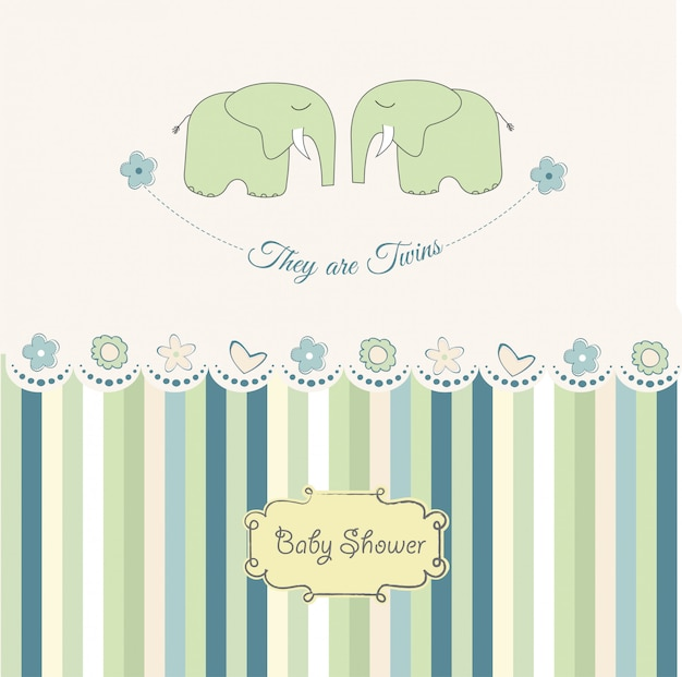Cartão do chuveiro dos gêmeos do bebê