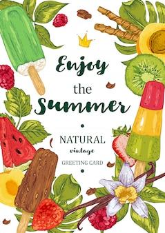 Cartão do convidado do gelado da fruta do menu.