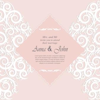 Cartão do convite, cartão de casamento com ornamento