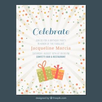 Cartão do convite com confetti e fundo do starburst