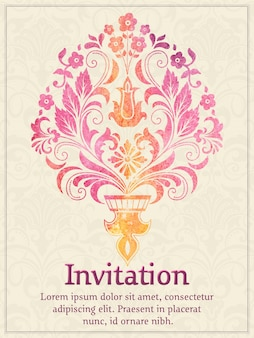 Cartão do convite com elemento do damasco da aguarela no fundo claro do damasco