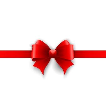 Cartão do convite com fita vermelha de férias e arco