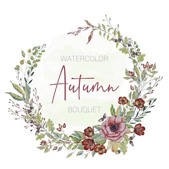 Cartão do convite com flores de outono pintadas