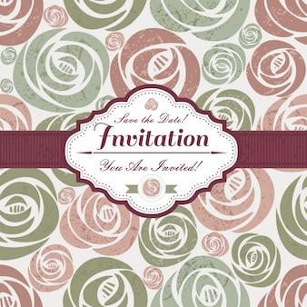 Cartão do convite com motivos florais