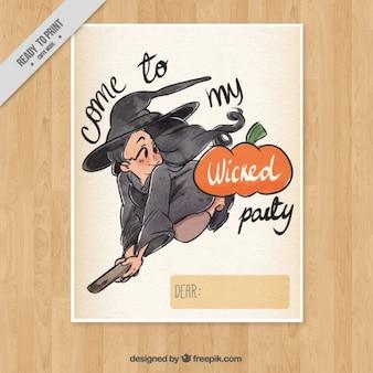 Cartão do convite com um vôo da bruxa