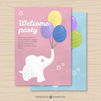 Cartão do convite da aguarela com elefante e balões