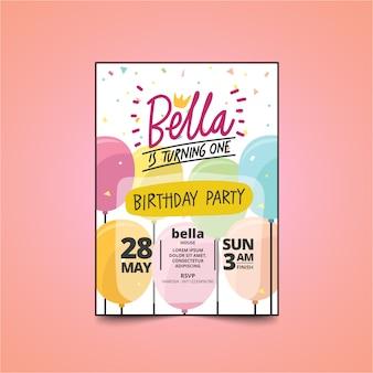 Cartão do convite da festa de anos dos miúdos com design bonito. tema de balão