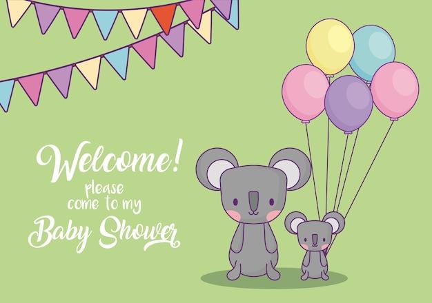 Cartão do convite da festa do bebê com as coalas bonitos com os balões sobre o fundo verde, projeto colorido. v