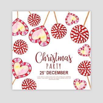 Cartão do convite da festa do Feliz Natal da aguarela