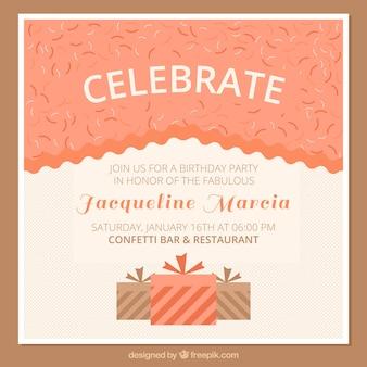 Cartão do convite do aniversário com caixas de presente