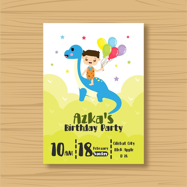 Cartão do convite do aniversário do dinossauro