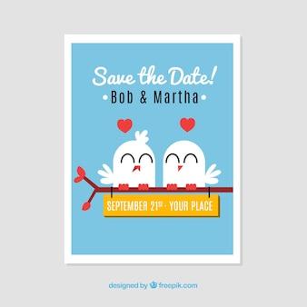 Cartão do convite do casamento com pássaros bonitos