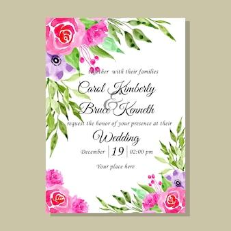Cartão do convite do casamento da flor da aguarela