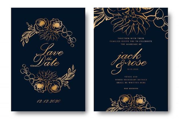 Cartão do convite do casamento da folha de ouro