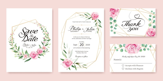 Cartão do convite do casamento da rosa do rosa.