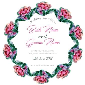 Cartão do convite do casamento das rosas da aguarela