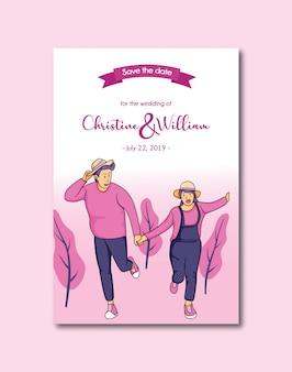 Cartão do convite do casamento do divertimento dos pares