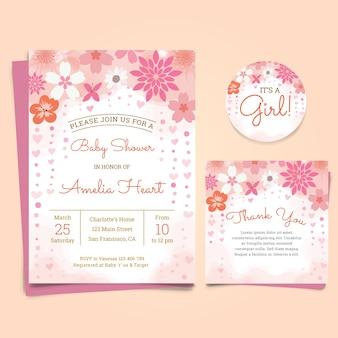 Cartão do convite do chá de fraldas com flores