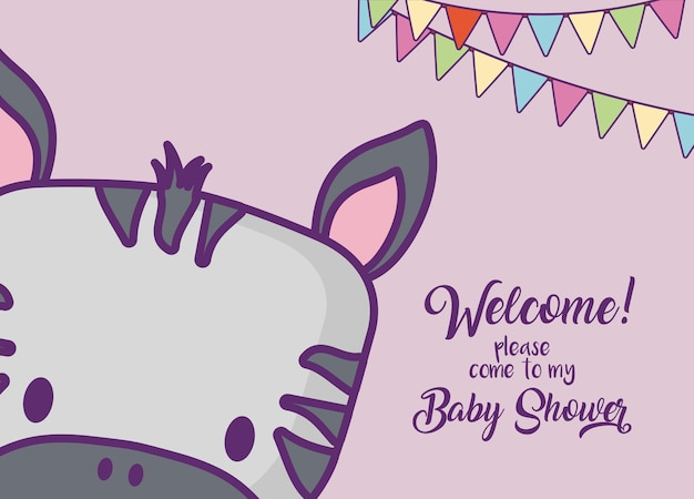 Cartão do convite do chuveiro de bebê com ícone de giro zebra e bandeirolas decorativas sobre fundo roxo, col