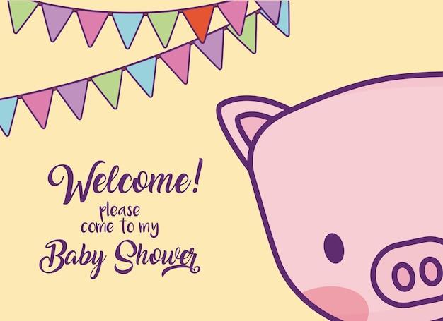 Cartão do convite do chuveiro de bebê com ícone de porco bonito e galhardetes decorativos sobre fundo amarelo, colo