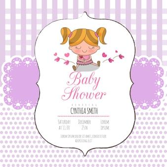 Cartão do convite do chuveiro de bebê menina