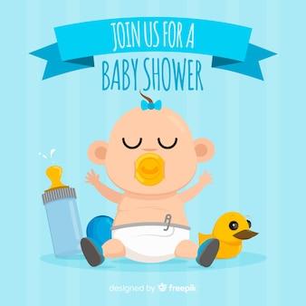 Cartão do convite do chuveiro de bebê