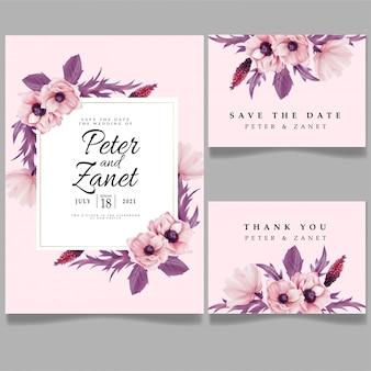 Cartão do convite do evento do casamento da beleza modelos editáveis