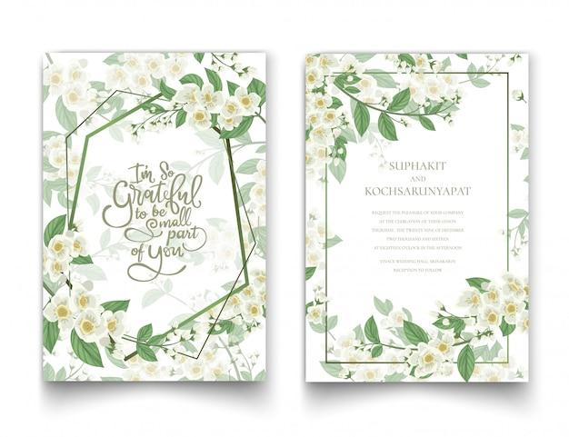Cartão do convite do jasmim e coleção da letra.
