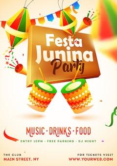 Cartão do convite do partido de festa junina