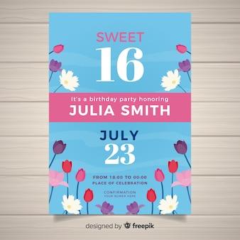 Cartão do convite do partido do doce dezesseis