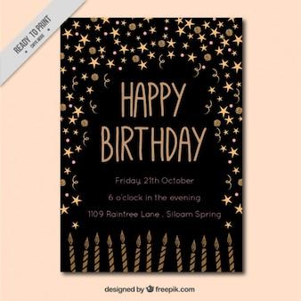 Cartão do convite do preto com elementos dourados