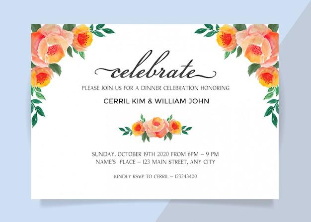 Cartão do convite para a celebração do jantar com borda de quadro de flores em aquarela