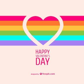 Cartão do coração do arco-íris dos namorados