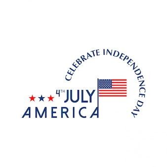 Cartão do dia da independência americana com bandeira do eua e luz de fundo vector