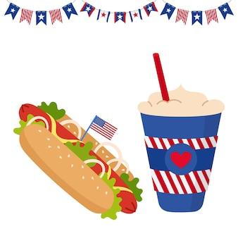 Cartão do dia da independência americana com copo de bandeira, café para viagem e cachorro-quente com buntin de guirlanda de bandeiras dos eua