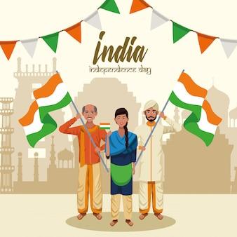 Cartão do dia da independência da índia