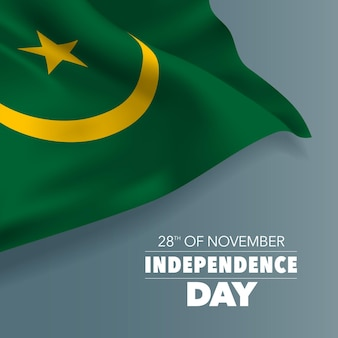 Cartão do dia da independência da mauritânia, banner, ilustração vetorial. dia nacional da mauritânia, 28 de novembro, plano de fundo com elementos de bandeira, formato quadrado