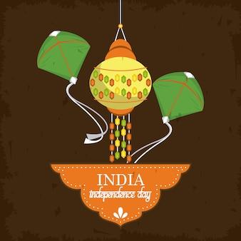 Cartão do dia da independência de india colorido