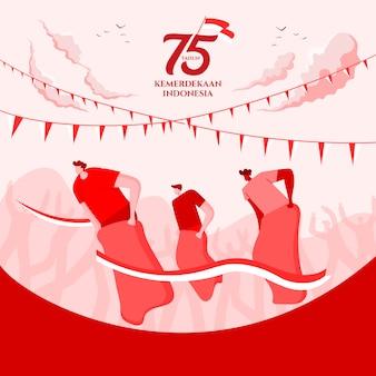 Cartão do dia da independência de indonésia com ilustração tradicional do conceito de jogos. 75 tahun kemerdekaan indonésia se traduz em 75 anos do dia da independência da indonésia.
