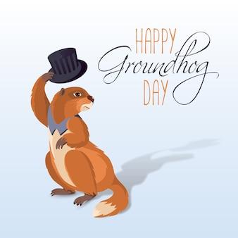 Cartão do dia da marmota com marmota engraçado dos desenhos animados e a inscrição sobre um fundo claro.