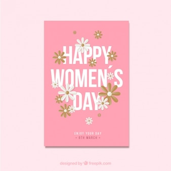 Cartão do dia da mulher com detalhes florais