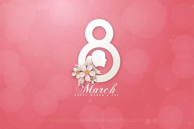 Cartão do dia da mulher de 8 de março com uma imagem simulada de uma mulher no meio de um número em um cartão rosa.