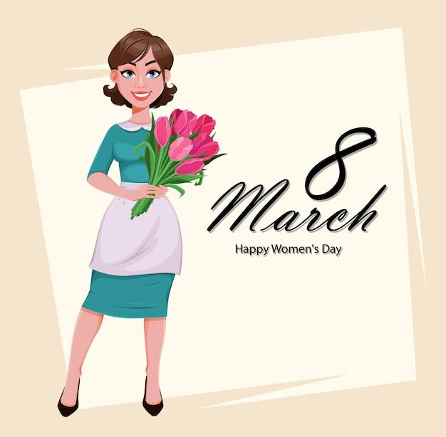 Cartão do dia da mulher feliz. linda mulher de avental