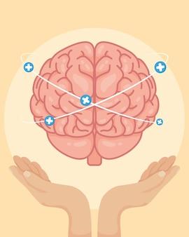 Cartão do dia da saúde mental com mãos levantando o cérebro