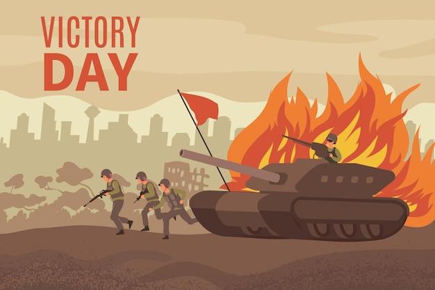Cartão do dia da vitória com passeios militares e tanque em uma cidade em ruínas