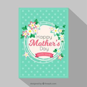 Cartão do dia das mães com pontos e decoração floral